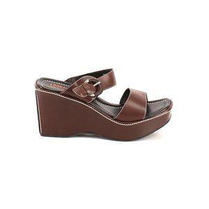 DONALD J PLINER Leather Platform Wedge Sandals